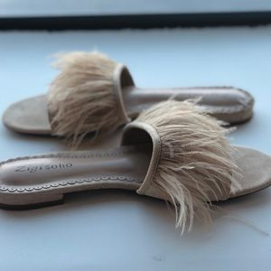 Zigisoho nude feather slides faux suede sz 9